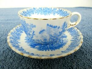 Vintage Rorstrand Porcelain Tea Cup & Saucer Blue Gold Trim #519