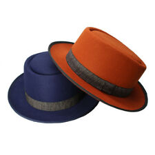 8550a3c9fed Retro 100% Wool Women Men Round Top Cap Fedora Porkpie Pork Pie Hat Ribbon  Band