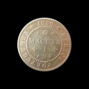 PORTUGUESE ANGOLA 1/2 MACUTA 1858 D. PEDRO V KM 58 #7729#