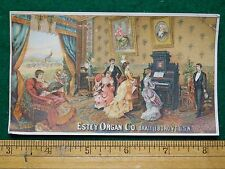 1870s-80s Estey Organ Co People Playing Piano Victorian Trade Card F23