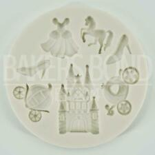 Princess Castle Carriage Shoe Gown Cupcake Icing Topper Silicone Mould