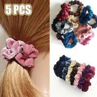 Set of 5 Lady Velvet Hair Scrunchies Elastic Scrunchy Bobble Ponytail Holder