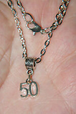 """HAPPY BIRTHDAY NECKLACE AGE 50 CHARM MIDDLE AGED! SILVER PLATED! 19"""" CHAIN NEW!"""