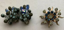 Vintage Value Lot Costume Jewelry Earrings clip ons estate Find Rhinestones Pin