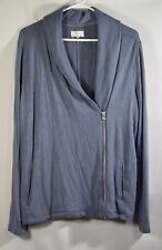 Lou & Grey Womens M Grey Blue-Green Knit Asymmetric Zip Ann Taylor Moto Jacket