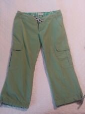 Poetry Clothing Womens Green Cargo Capri Cropped Hiking Pants Small