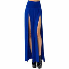 Women Sexy Blue Dressy Long Skirt Splits Front & A-Line Light Cute M Concerts
