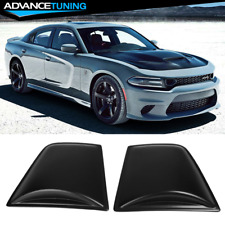 Fits 11-21 Dodge Charger V4 Style Window Scoop Side Louver Cover Matte Black PP