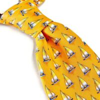 Brooks Brothers Maker Mens 100% Silk Neck Tie Sailboat Print Orange 3.5W 61L