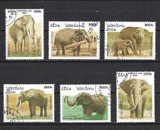Animaux Eléphants Laos (125) série complète 6 timbres oblitérés