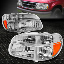 FOR 1995-2001 FORD EXPLORER PAIR CHROME HOUSING AMBER CORNER HEADLIGHT/LAMP SET