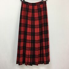JH Collectibles Skirt Size 6 Womens Red Black Plaid Pleated 100% Pure Wool