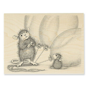 HOUSE MOUSE Birthday Balloons Wood Mounted Rubber Stamp STAMPENDOUS HMR134 New