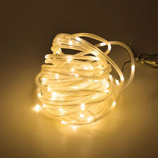 Outdoor Home Christmas Tube Rope Fairy Lights 10M 100 LED Solar Power Waterproof