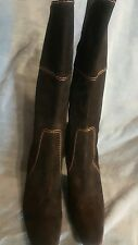 ANN KLEIN LADIES BLACK WITH BROWN STITCHES SUEDE BOOTS MADE IN ITALY SIZE 8
