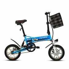 "Update Blue Mini Folding Bike 14"" Ebike Electric Bicycle Bike 240W*36V Shimano"