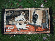 "VTG Italy PRETTY Tapestry Wall Rug Hanging Cloth Art Puppies Cat Kitten 42 x 23"""