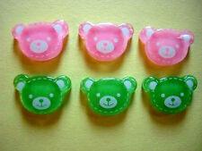 20 Pink, Green Baby Bear Candy Head Flatback Button/Craft/Embellishment/Bow B110