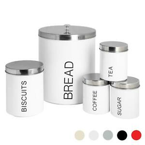 5x Kitchen Storage Canisters Set Tea Coffee Sugar Bread Jars Metal White