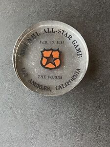 1981 NHL 33rd All-Star Game Plexi Puck The Forum Los Angeles Lucite Kings Host