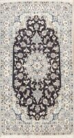Floral Traditional Nain Hand-knotted Area Rug Wool Oriental Foyer Carpet 4x7 ft