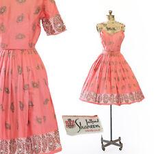 Vtg 50s Alfred Shaheen Hawaiian Tiki hand painted SARI PAISLEY coral dress
