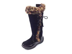 Sporto Waterproof Suede Tall Boot Side Winder Tassel Lace Up Black Leopard 6 M