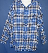 Sonoma Men's 3XB Blue Plaid Super Soft Brushed Flannel Shirt New Tags Pockets
