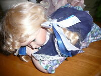 Doll Genuine Fine Bisque Porcelain Baby Girl Doll Blond Blue Eye Lg Vintage