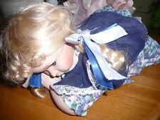 Doll Genuine Fine Bisque Porcelain Baby Girl Doll Blond Blue Eye
