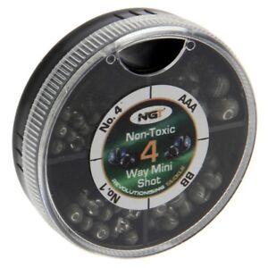 4 Way Mini Split Shot Weights Non Toxic Leads AAA BB No1 No4 Coarse Carp Fishing
