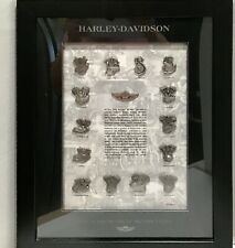 Harley Davidson 100th Anniversary Framed Engine Pin Set Wall Hanging, COA