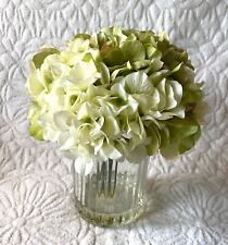 Hydrangea Flower Green White Glass Vase Arrangement Summer Home Decor $120!