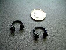 "3/8"" 10mm Black Spike Horseshoe Orlg Pair (2) 14g Nipple Rings Titanium Anodized"
