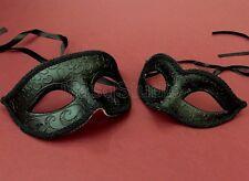 Couple Black White Silver Masquerade Mask Steampunk black tie cocktail Party