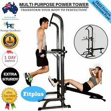 Power Tower Home Gym Dip Station Multi Chin Push Pull Up Bar With FID Bench New