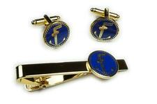 Tubal Cain Two Ball Cane Freemason Master Masonic TIE BAR CUFFLINKS