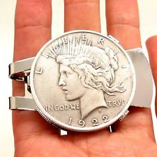 Antique REAL 900 Silver Peace Dollar Coin Money Clip Random Years w/ Gift Box