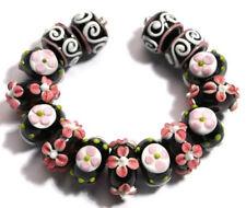 HANDMADE LAMPWORK GLASS BEADS Black White Pink Flower Dot Loose Craft Jewelry