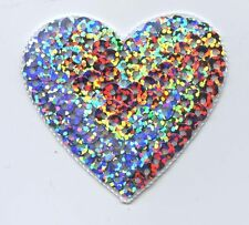 Iron-On Applique Embroidered Patch Valentines Large Silver Sequin Heart 2""