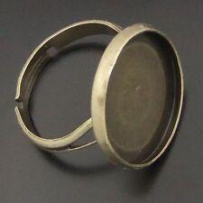 20pcs Vintage Bronze Tone Alloy Round Cameo Setting 16mm Ring Base 04960