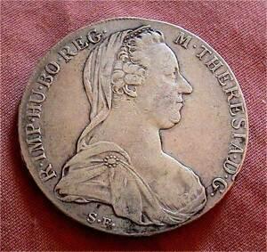 1780 Austria Thaler Maria Theresa Early Restrike Silver Crown-28 grams a v.f