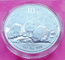 2013 China Panda 10 Yuan 1 Oz Plata Moneda Encapsulada