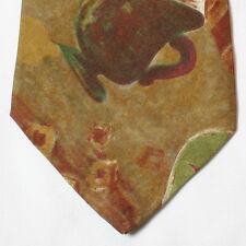 NEW Hugo Boss Silk Neck Tie Floral Fish The Cup Beige Orange Red Green 234