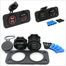New Red LED Angel Eye Car 2-Hole Panel 2-USB Charger Adapter & Digital Voltmeter