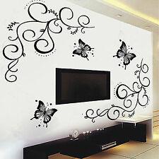3b914ea406 Butterfly Vine DIY Removable Vinyl Decal Art Mural Wall Sticker Home Room  Decor