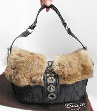 New Coach 9443 Black Quilted Logo Nylon Fur Trim Hobo Shoulder Bag $350rt