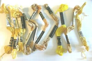 LOT 10 Skeins DMC-25 Cotton Embroidery Floss Thread Made in France Yellow/Gold