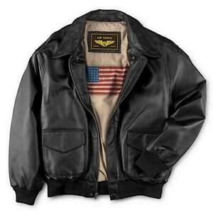 Men's WWII U.S Air Force A2 Leather Flight Bomber Jacket