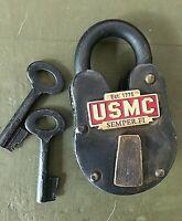 Marines USMC military antique lock cast iron brass united states semper fi US